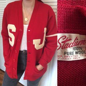 Vintage Red Letterman Cardigan Oversized Sweater